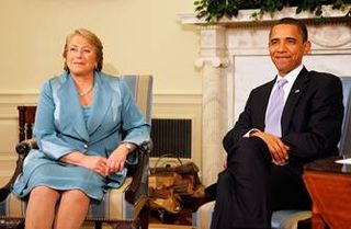 Chilean President Michelle Bachelet with American President Barak Obama