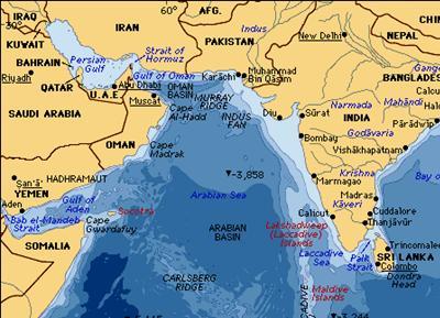 The Persian Gulf and the Arabian Sea