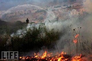 Fires in Northern Israel (2006) at Kiryat Shmona Israel from Hizallah Rockets