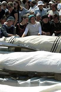 Mourners 4 Jewish Settlers Beit Chaggai