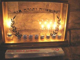 Lighting a Jewish Menorah
