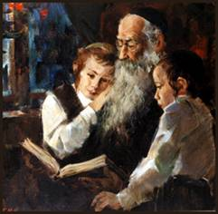 Rabbi teaching children
