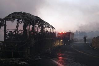 Destruction of the Israeli Prison Bus going to Mount Carmel