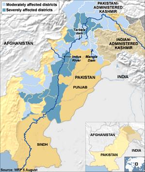 Great Indus River Flood in a Sinking Pakistan