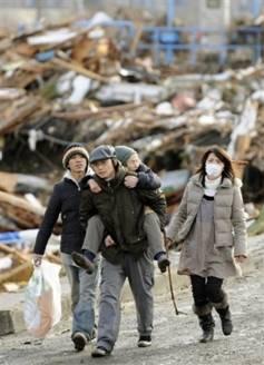 Japan Tsunami Victims Walking Away