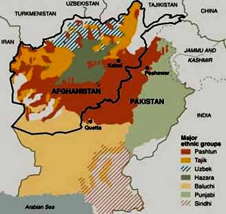 Tribal Regions in Rust Orange controlled by the Bani-Israel Pashtuns