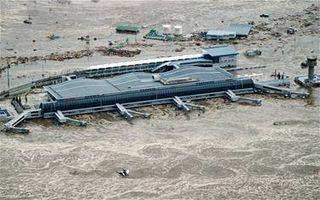 Tsunami Sea surrounding Sendai Airport