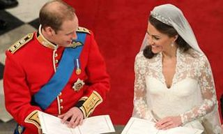 Prince William Kate smiling during Wedding Ceremony