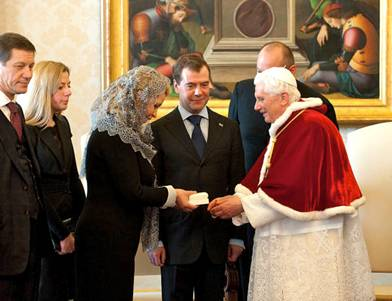 Pope Benedict XVI gift Dmitri Medvedev