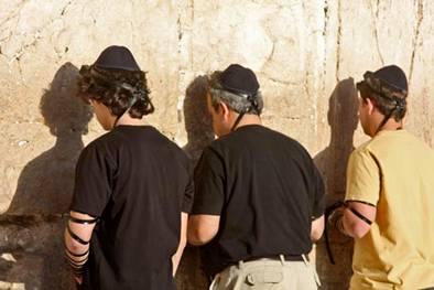 Orthodox Jews Prayers at the Wailing Wall