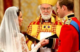 Archbishop of Canterbury Dr Rowan Williams conducts Wedding Service