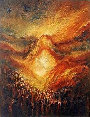 Israel standing Fiery Mountain of G-d at Sinai