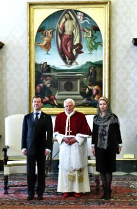 President Medvedev, wife, Pope Benedict XVI
