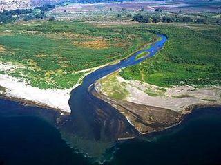 Jordan River entering the Sea of Galilee