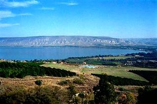 Sea of Galilee with the Golan Heights