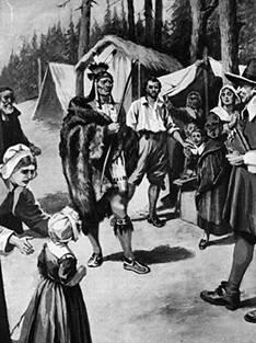 Tisquantum (Squanto) greets the Pilgrims