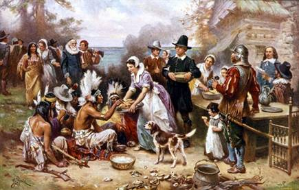 The First Thanksgiving by the Pilgrims