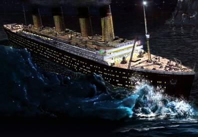 Titanic hitting the Iceberg