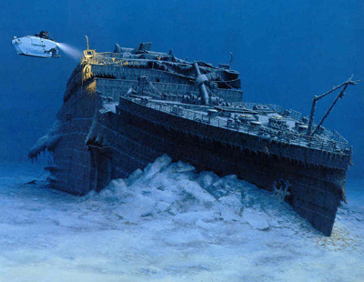 Lost Titanic at the Bottom of the Atlantic