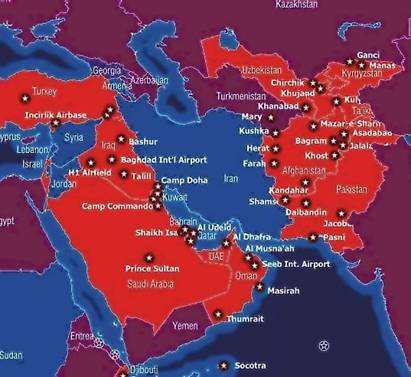 America Allied military bases surround Iran
