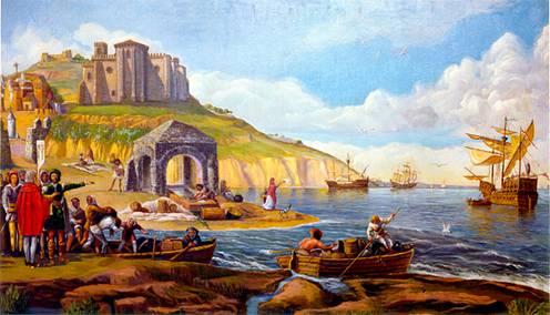 Christopher Columbus departing 1492