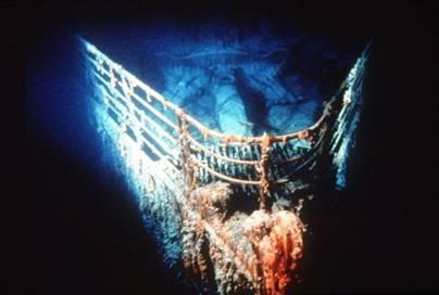 Bow of the Titanic bottom of Atlantic