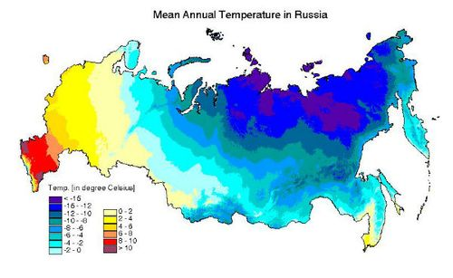 Mean annual temperatures in Russia
