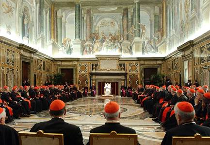 Pope Benedict XVI meeting with Vatican Cardinals