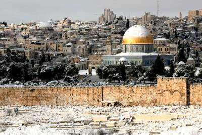 Snow on Temple Mount and Eastern Gate