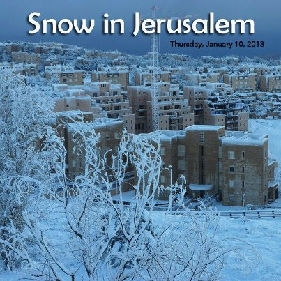Jerusalem, the City of G-d blanketed by Snow