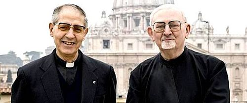 Jesuit General Adolfo Nicholas with former Jesuit General Peter-Hans Kolvenbach