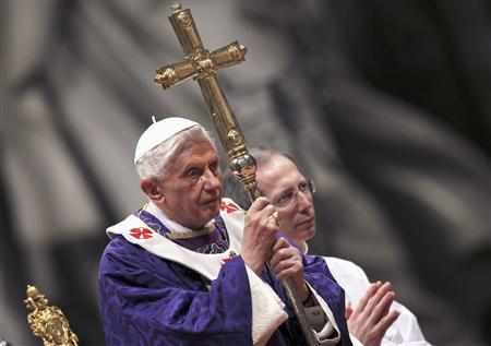 Pope Benedict XVI attending Ash Wednesday mass