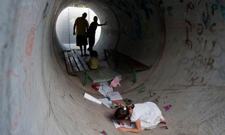 Orthodox Jewish family sheltering from Rocket Attacks