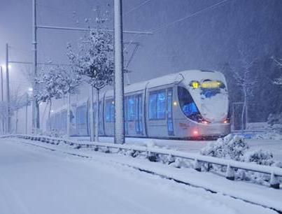 Jerusalem's Commuter Train in Snow 2013