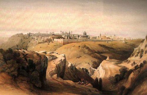 Mount Zion and Jerusalem - David Roberts 1950