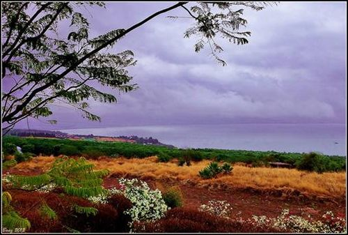 Storm Clouds gather over Mount Beatitude in Galilee, Israel
