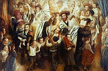 Rebbes dancing with Torah Scrolls