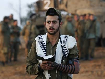 Orthodox Jewish Soldier Praying