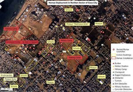 Hamas Military Installations Imbedded in Civilian Areas