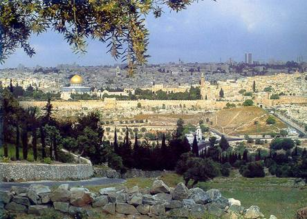 Mount of Olives overlooking the Eastern Gate of the Temple Mount