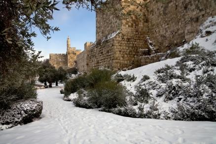 March 2012 Snow along the Walls of Jerusalem