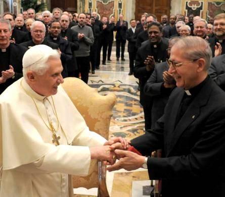 White Pope Benedict XVI and Black Pope Adolfo Nicholas