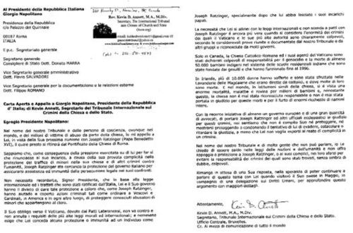 ITCCS letter to President Napolitano of Italy