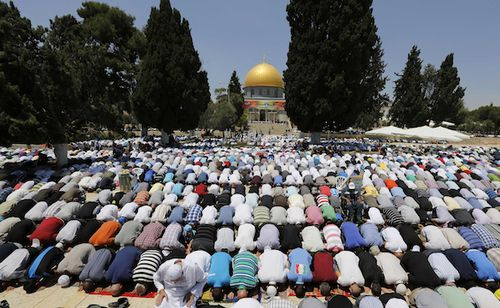 Islamic Worshippers on the Temple Mount at Ramadan