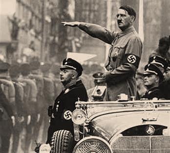German Fuehrer Adolf Hitler with Heinrich Himmler