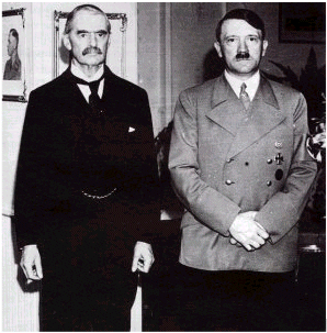Adolf Hitler and Neville Chamberlain after the Munich Agreement