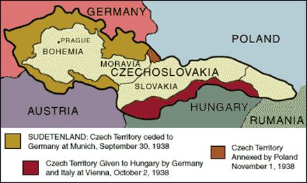 Map of Czechoslovakia in 1938 showing Sudentenland