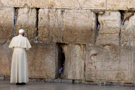 Pope Benedict XVI praying at the Wailing Wall in 2009