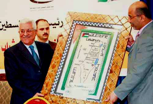 Palestinian President Mahmoud Abbas with a Map of the Palestinian State without Israel