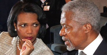 Condoleezza Rice and UN Secretary General Kofi Annan at Rome Summit